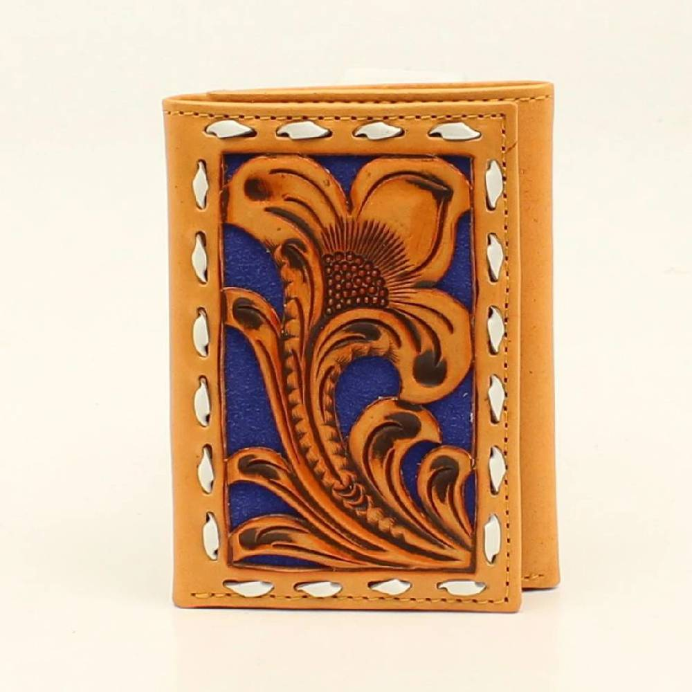 Nocona Tooled Overlay Buckstitch Tri-Fold Wallet MEN - Accessories - Wallets & Money Clips M&F Western Products Teskeys