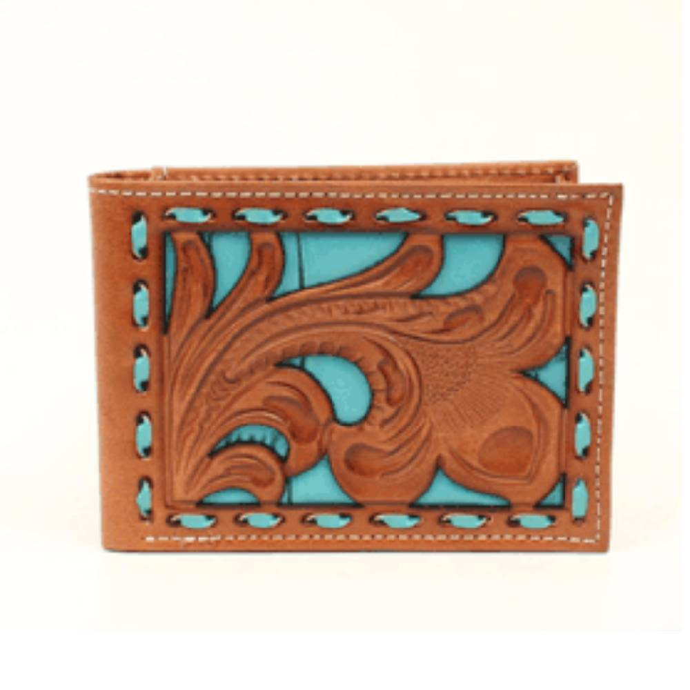 Nocona Floral Inlay Buckstitch Bi-Fold Wallet MEN - Accessories - Wallets & Money Clips M&F WESTERN PRODUCTS Teskeys