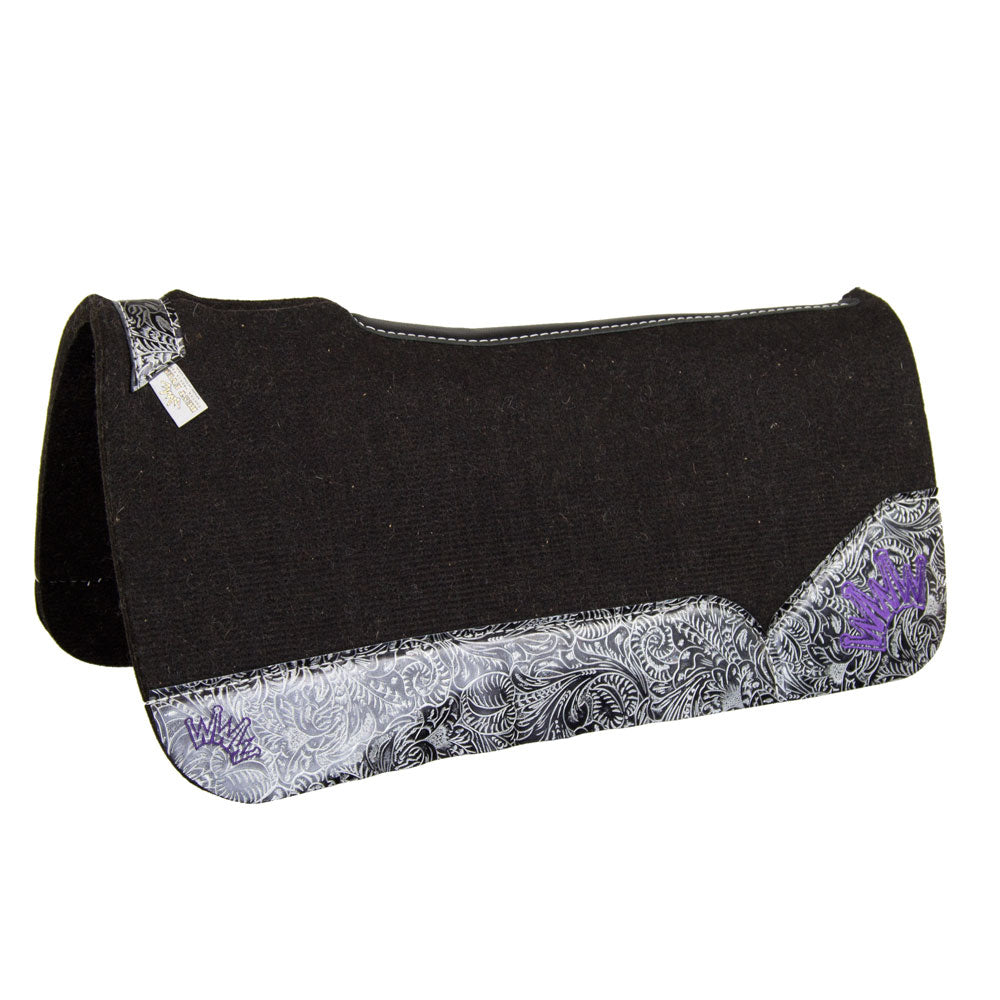 OG Collection Best Ever Charcoal and Purple Wool Saddle Pad Tack - Saddle Pads Teskeys Teskeys