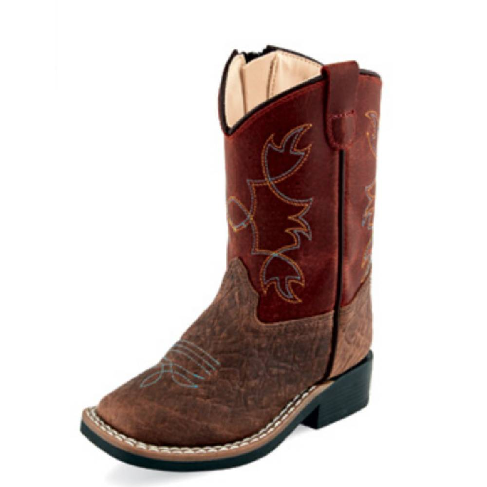 Old West Square Toe Boot - Brown/Red KIDS - Boys - Footwear - Boots JAMA CORPORATION Teskeys