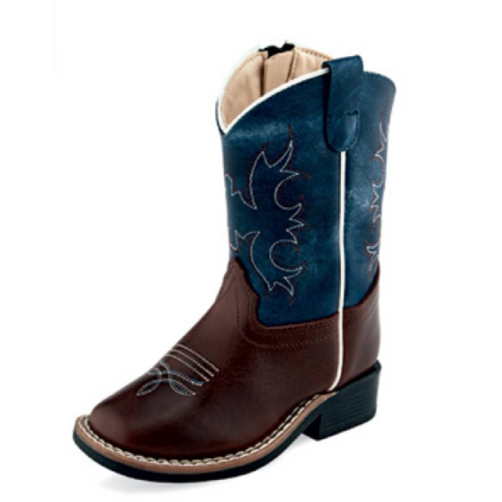 Old West Square Toe Boot - Brown/Blue KIDS - Boys - Footwear - Boots JAMA CORPORATION Teskeys