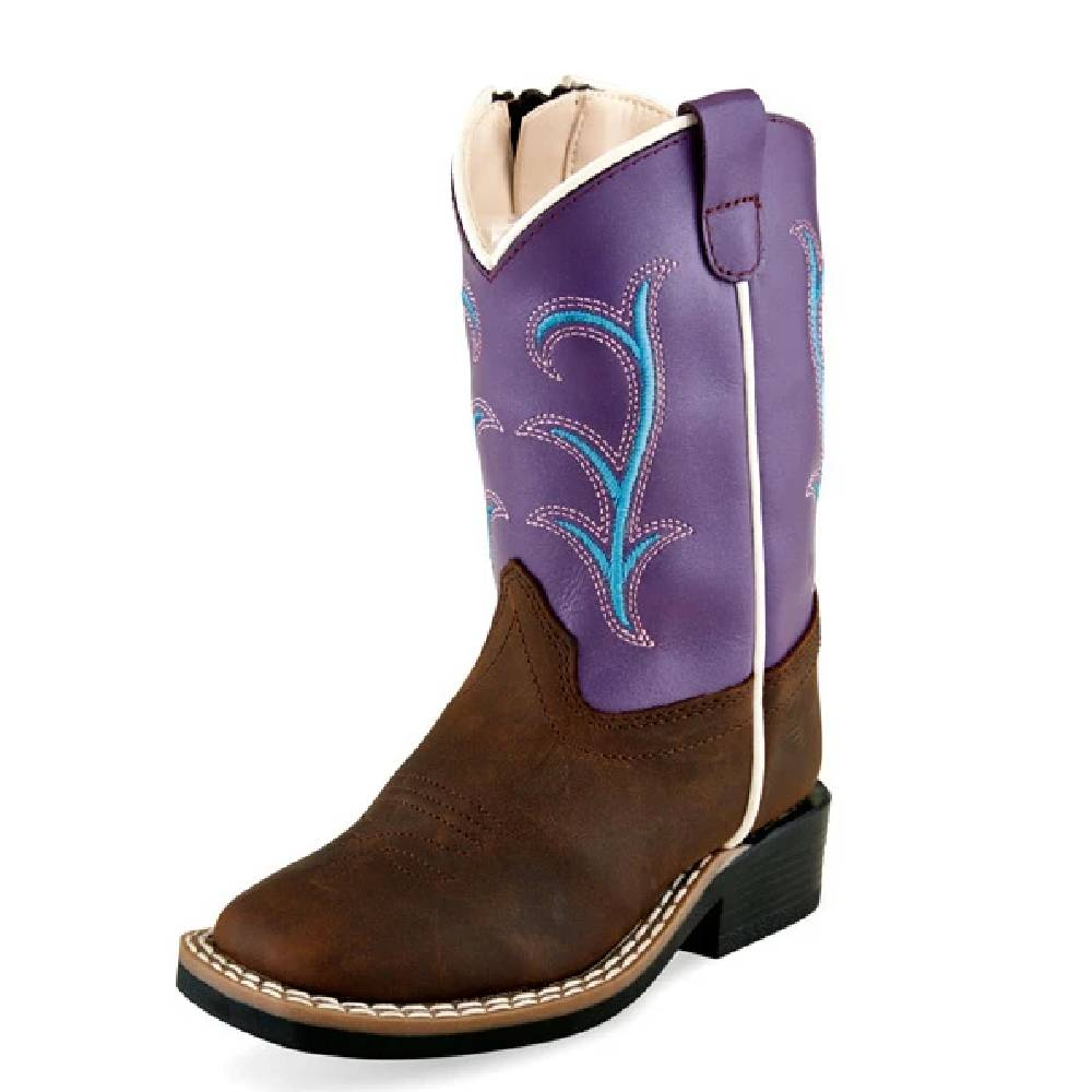 Old West Kids Square Toe Boot - Brown/Purple KIDS - Girls - Footwear - Boots JAMA CORPORATION Teskeys