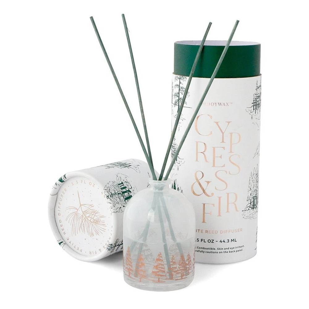 Paddywax 1.5oz White Petite Reed Diffuser - Cypress & Fir HOME & GIFTS - Home Decor - Candles + Diffusers Paddywax Teskeys