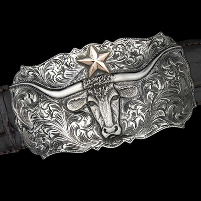 Comstock Heritage Posse Large Lone Star Longhorn Buckle ACCESSORIES - Additional Accessories - Buckles COMSTOCK HERITAGE Teskeys
