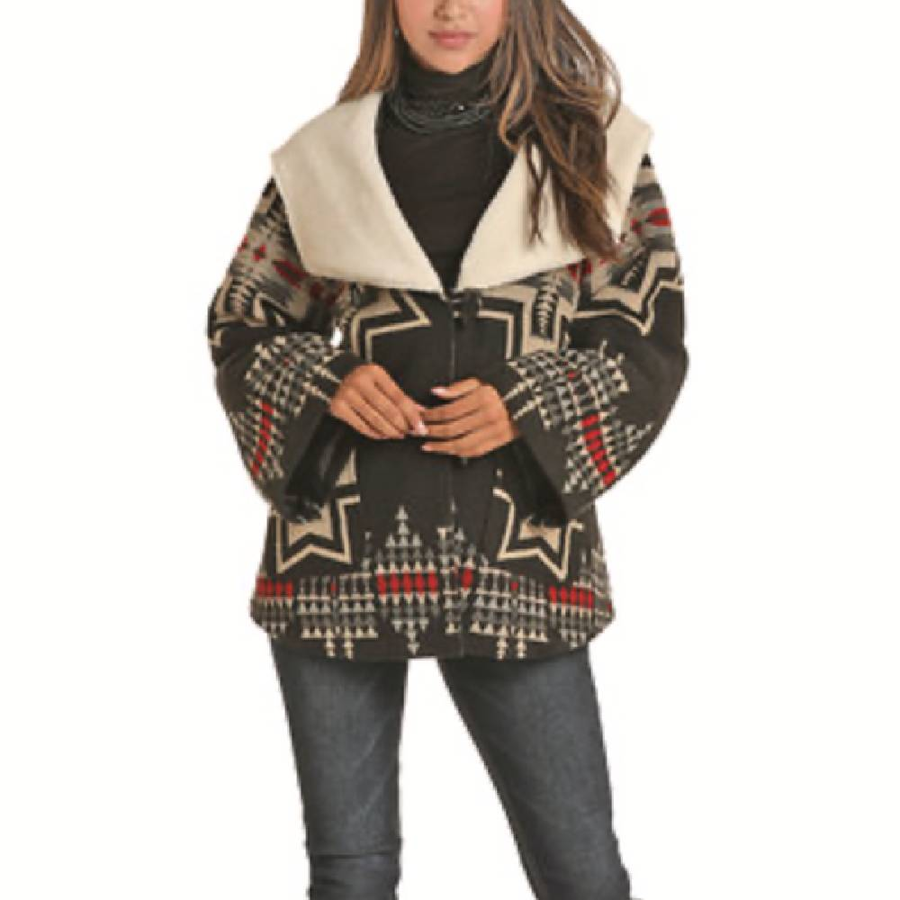 Powder River Wool Hooded Aztec Coat