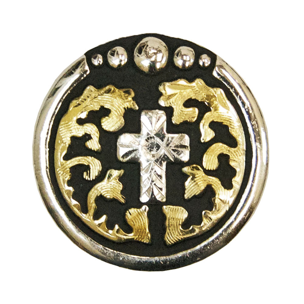 Gold/Black with Silver Cross Concho Tack - Conchos & Hardware Teskeys Teskeys