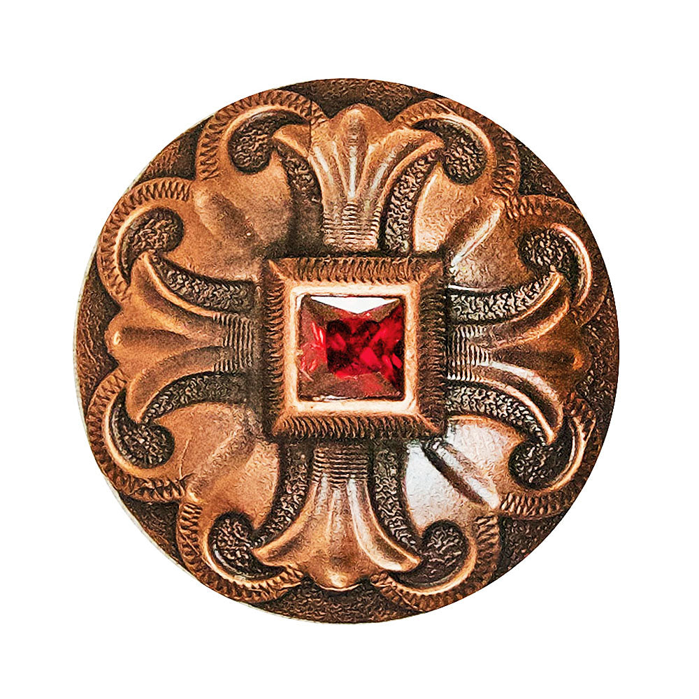 Copper Concho with Red Raised Stone Tack - Conchos & Hardware Teskeys Teskeys