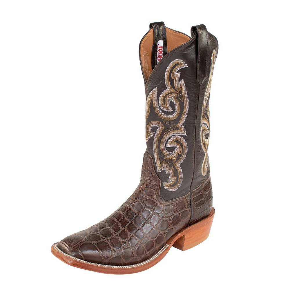 Rios of Mercedes Chocolate Giant Gator Chocolate Calf Boots MEN - Footwear - Exotic Western Boots RIOS OF MERCEDES BOOT CO. Teskeys