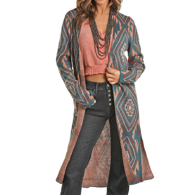 Rock & Roll Cowgirl Aztec Cardigan WOMEN - Clothing - Sweaters & Cardigans Panhandle Teskeys