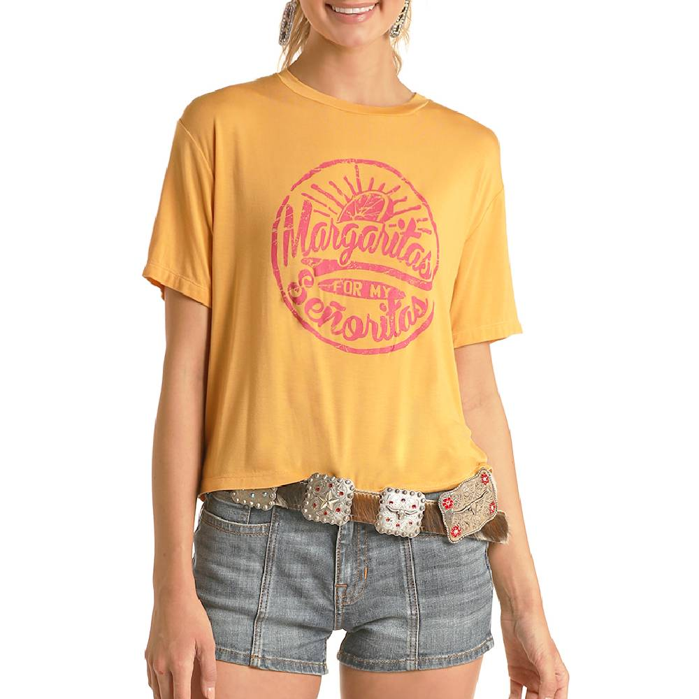Rock & Roll Cowgirl Graphic Cropped Tee WOMEN - Clothing - Tops - Short Sleeved Panhandle Teskeys