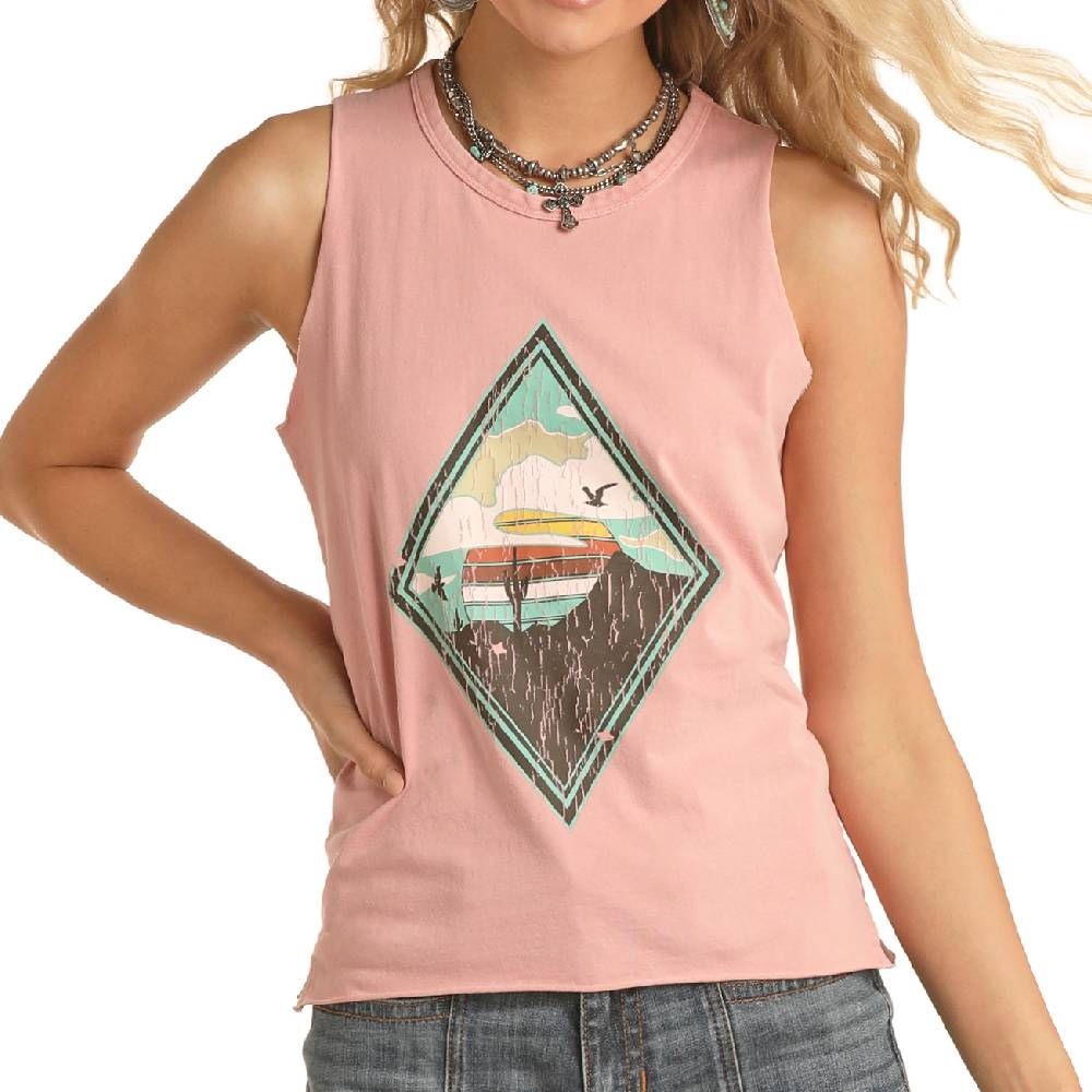 Rock & Roll Cowgirl Graphic Tank WOMEN - Clothing - Tops - Sleeveless Panhandle Teskeys