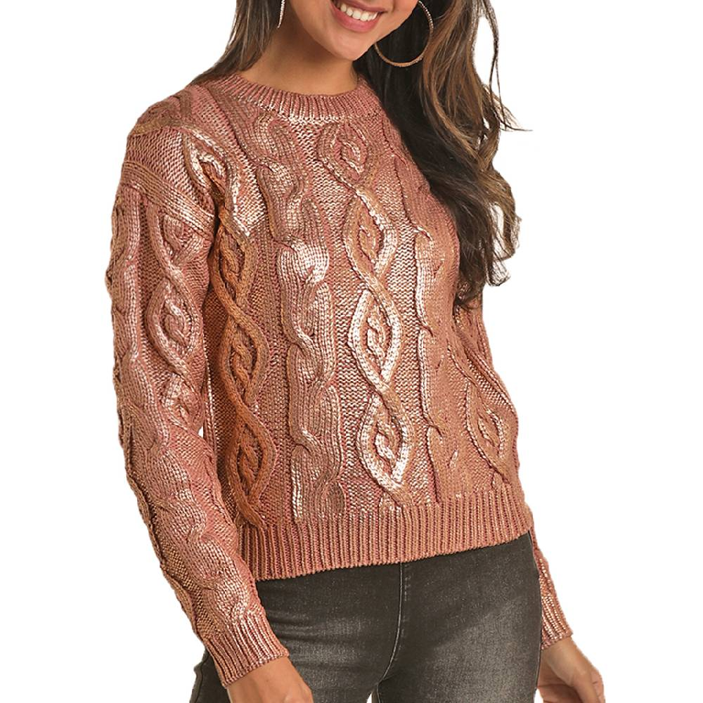 Rock & Roll Cowgirl Metallic Cable Knit Sweater WOMEN - Clothing - Sweaters & Cardigans Panhandle Teskeys