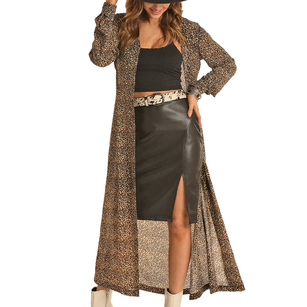 Rock & Roll Cowgirl Leopard Print Duster WOMEN - Clothing - Tops - Long Sleeved Panhandle Teskeys