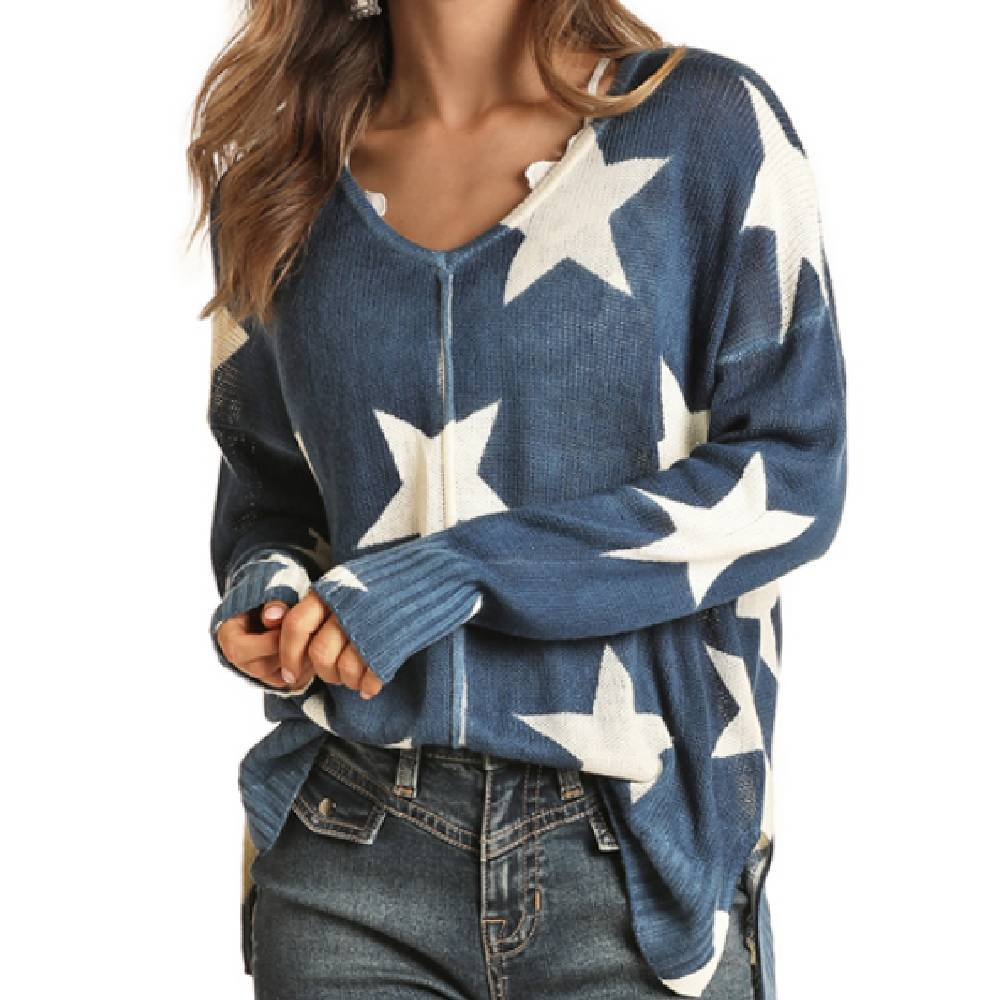 Rock & Roll Cowgirl Star Knit Sweater