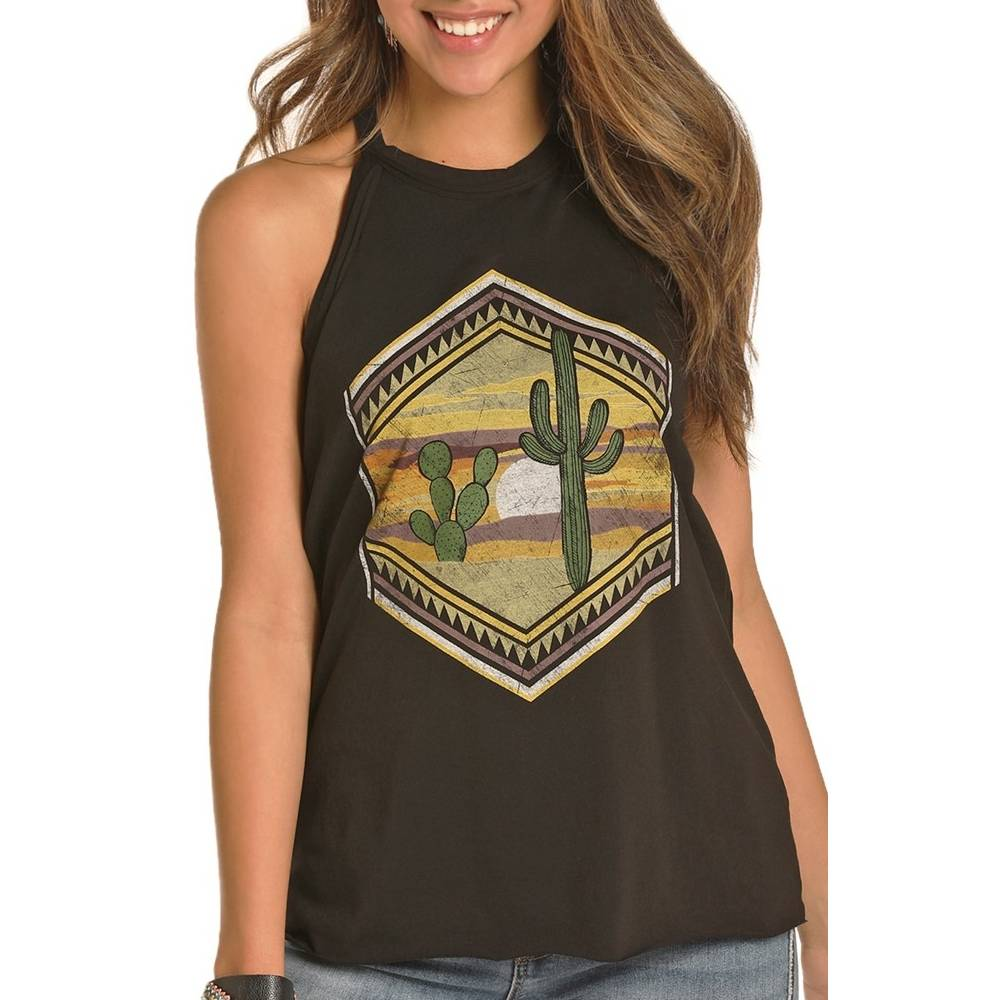 Rock & Roll Cowgirl High Neck Graphic Tank WOMEN - Clothing - Tops - Sleeveless Panhandle Teskeys