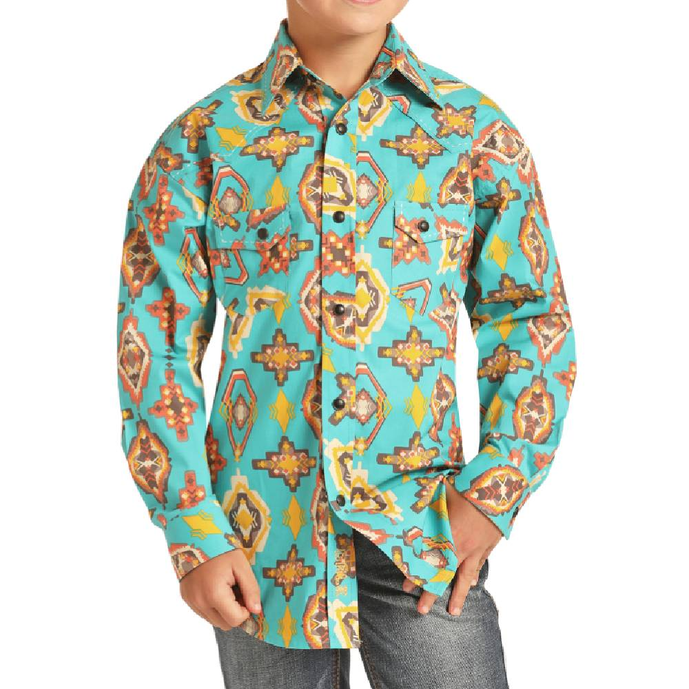 Rock & Roll Cowboy Boys Dale Brisby Print Snap Shirt KIDS - Boys - Clothing - Shirts - Long Sleeve Shirts Panhandle Teskeys
