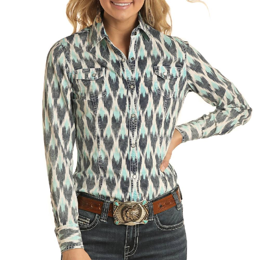 Rock & Roll Cowgirl Aztec Print Snap Shirt WOMEN - Clothing - Tops - Long Sleeved Panhandle Teskeys