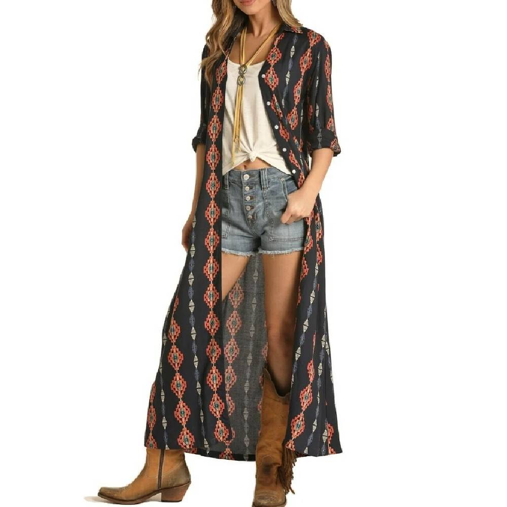 Rock & Roll Cowgirl Aztec Duster WOMEN - Clothing - Sweaters & Cardigans Panhandle Teskeys