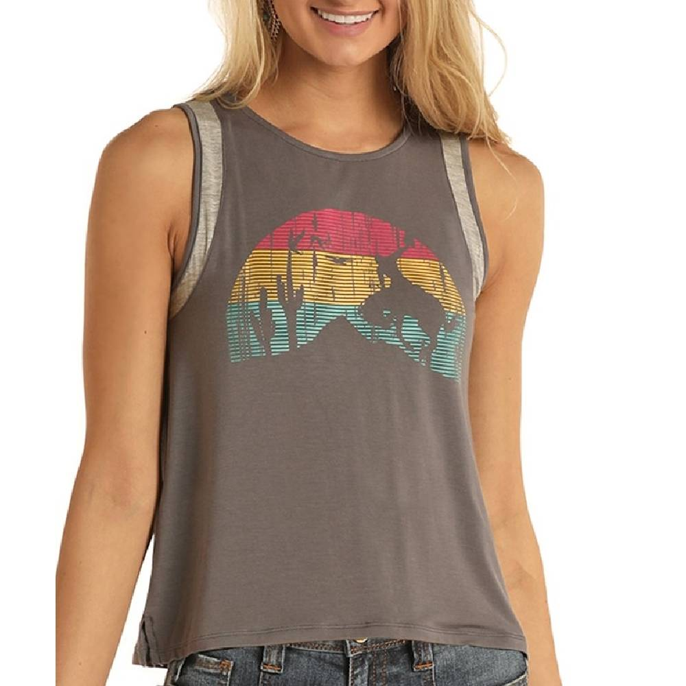 Rock & Roll Cowgirl Sunset Rider Graphic Tank WOMEN - Clothing - Tops - Sleeveless Panhandle Teskeys