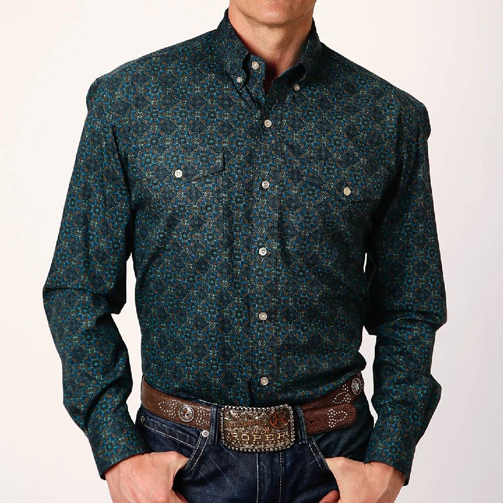 Roper Green Print Button Down Shirt MEN - Clothing - Shirts - Long Sleeve Shirts ROPER APPAREL & FOOTWEAR Teskeys