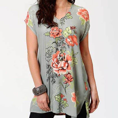 Roper Floral Print Tunic WOMEN - Clothing - Tops - Tunics ROPER APPAREL & FOOTWEAR Teskeys