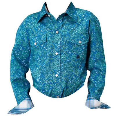 Roper Boy's Meadow Paisley Snap Shirt KIDS - Boys - Clothing - Shirts - Long Sleeve Shirts ROPER APPAREL & FOOTWEAR Teskeys