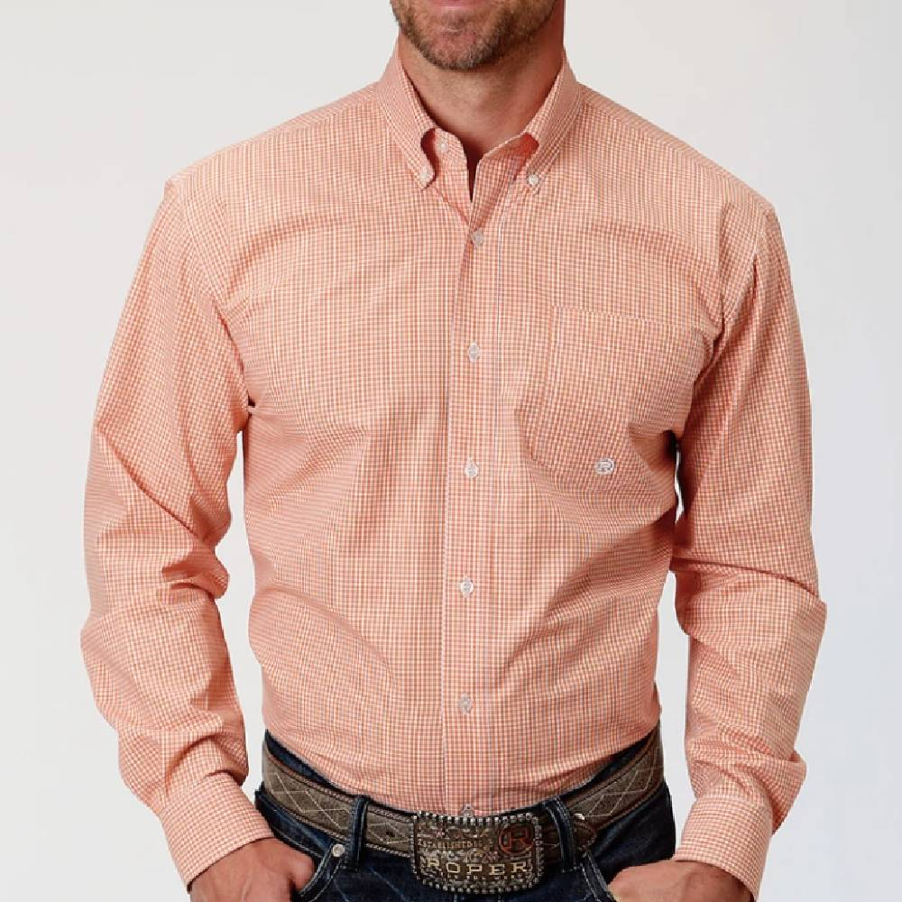 Roper Mini Check Plaid Shirt MEN - Clothing - Shirts - Long Sleeve Shirts ROPER APPAREL & FOOTWEAR Teskeys