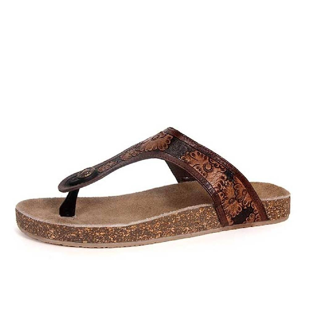 Roper Miranda Tooled Floral Sandal WOMEN - Footwear - Sandals ROPER APPAREL & FOOTWEAR Teskeys
