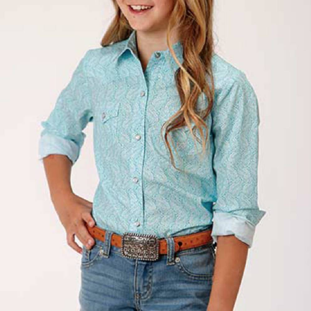 Roper Girls Nested Paisley Snap Shirt KIDS - Girls - Clothing - Tops - Long Sleeve Tops ROPER APPAREL & FOOTWEAR Teskeys