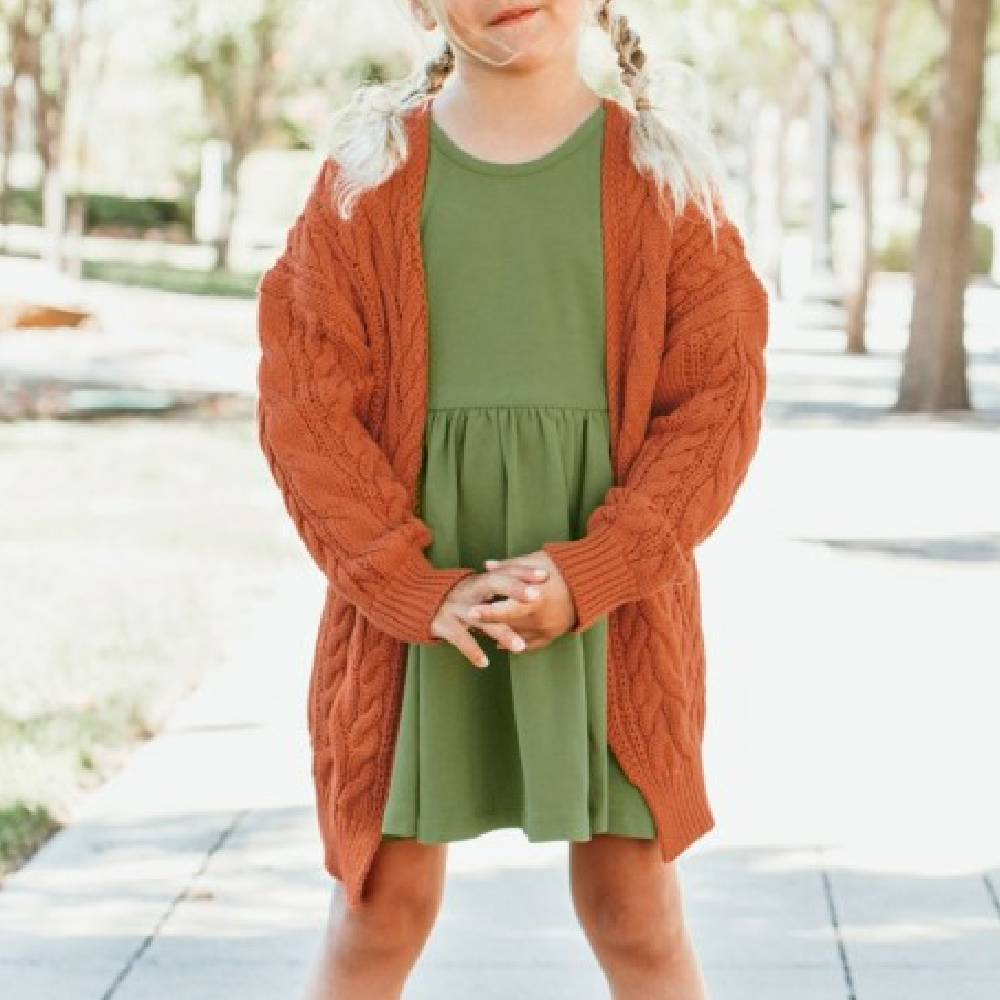 Ruffle Butts Chunky Knit Cardigan KIDS - Baby - Baby Girl Clothing RUFFLE BUTTS/RUGGED BUTTS Teskeys