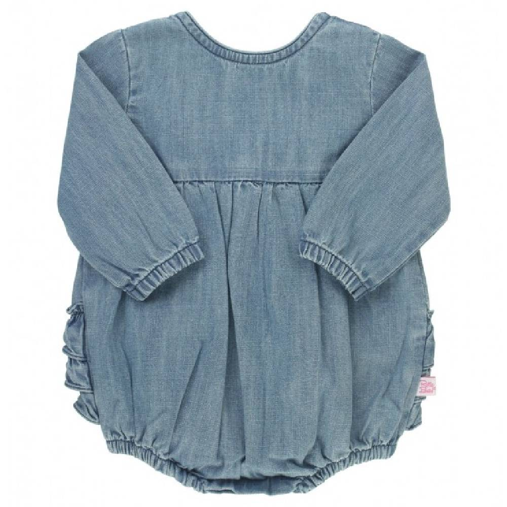 Ruffle Butts Denim V-Back Bubble Romper KIDS - Baby - Baby Girl Clothing RUFFLE BUTTS/RUGGED BUTTS Teskeys