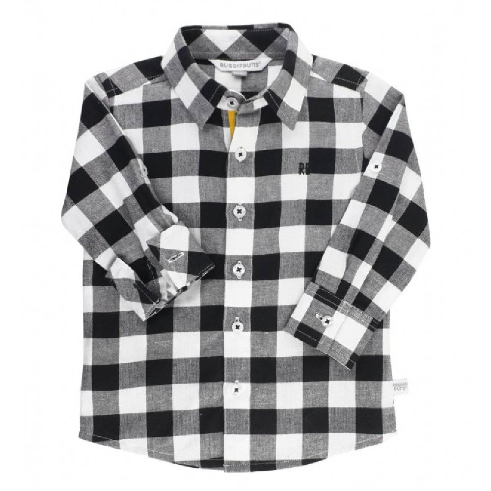 Rugged Butts Black & White Plaid Shirt KIDS - Baby - Baby Boy Clothing RUFFLE BUTTS/RUGGED BUTTS Teskeys