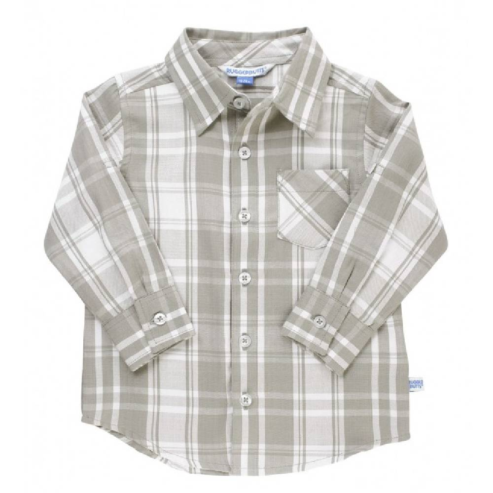 Rugged Butts Gray & White Plaid Shirt KIDS - Baby - Baby Boy Clothing RUFFLE BUTTS/RUGGED BUTTS Teskeys