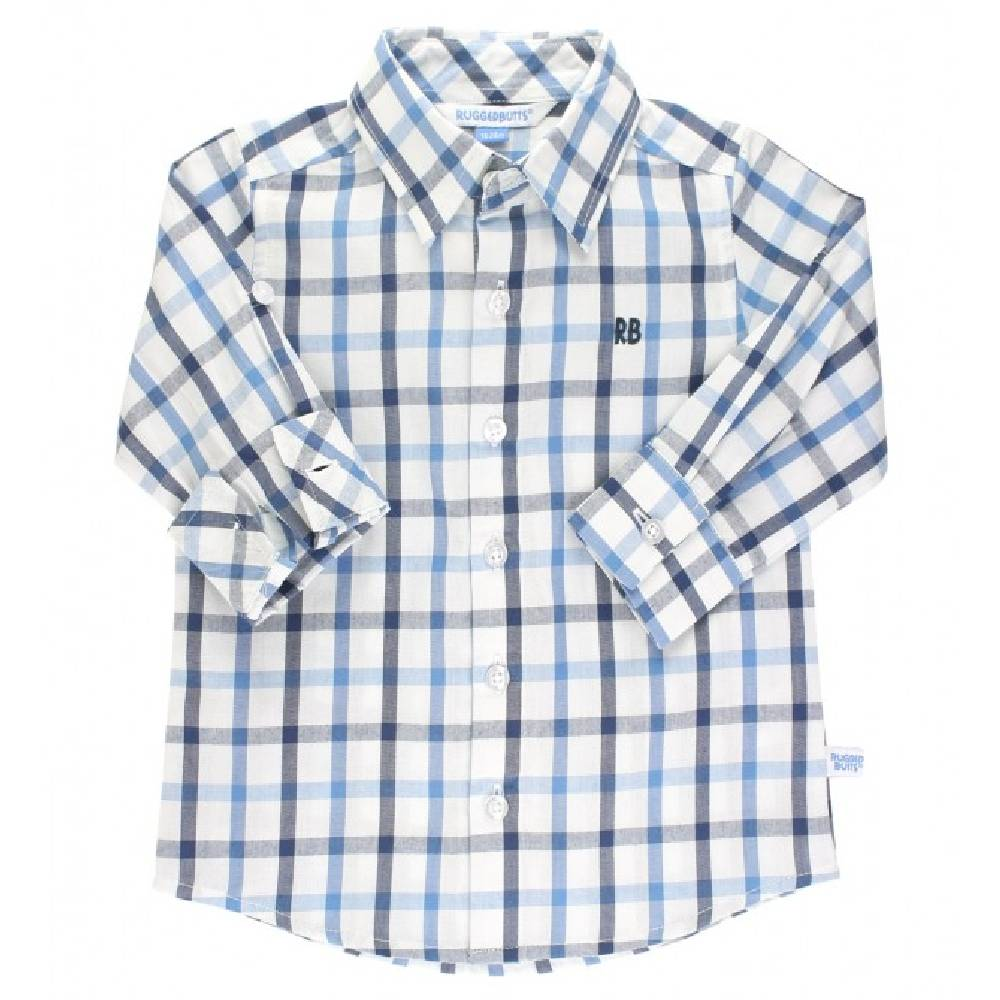 Rugged Butts Blue & Navy Plaid Shirt KIDS - Baby - Baby Boy Clothing RUFFLE BUTTS/RUGGED BUTTS Teskeys