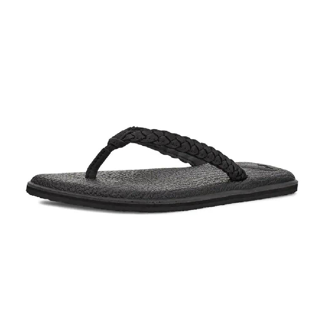 Sanuk Women's Yoga Braid Leather Sandal - Black WOMEN - Footwear - Sandals SANUK Teskeys