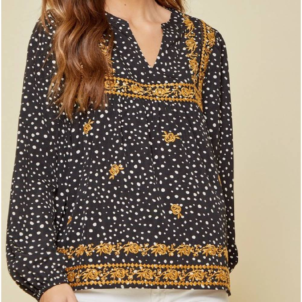 Black Polka Dot Embroidered Top