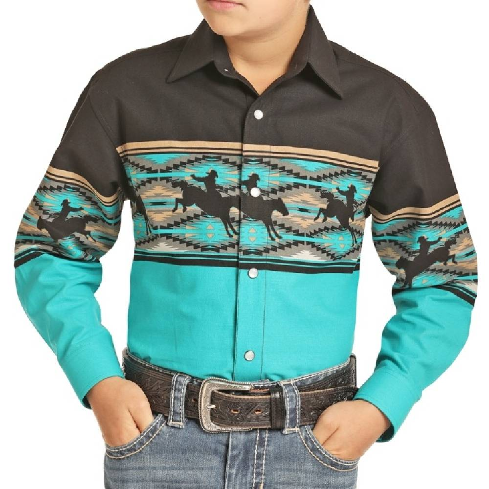 Panhandle Boys Scenic Border Snap Shirt