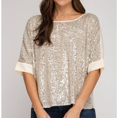Batwing Sleeve Sequin Top WOMEN - Clothing - Tops - Short Sleeved CLOUD WALK Teskeys