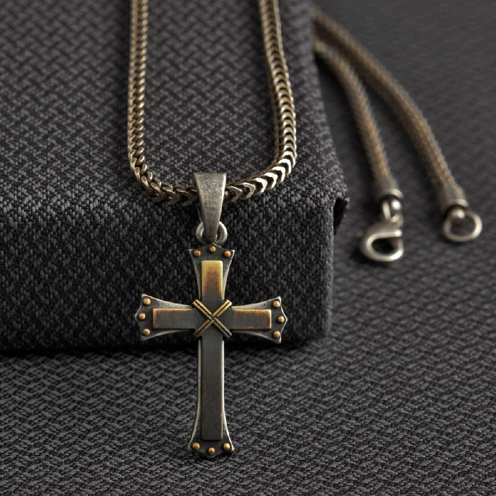 Men's Silver Cross Chain Necklace MEN - Accessories - Jewelry & Cuff Links M&F WESTERN PRODUCTS Teskeys