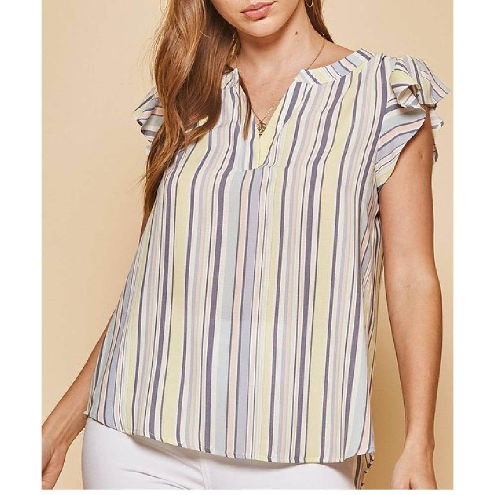 Striped Flutter Sleeve Top WOMEN - Clothing - Tops - Short Sleeved ANDREE BY UNIT FASHION Teskeys