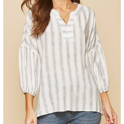 Striped Split Neck Blouse WOMEN - Clothing - Tops - Long Sleeved ANDREE BY UNIT FASHION Teskeys
