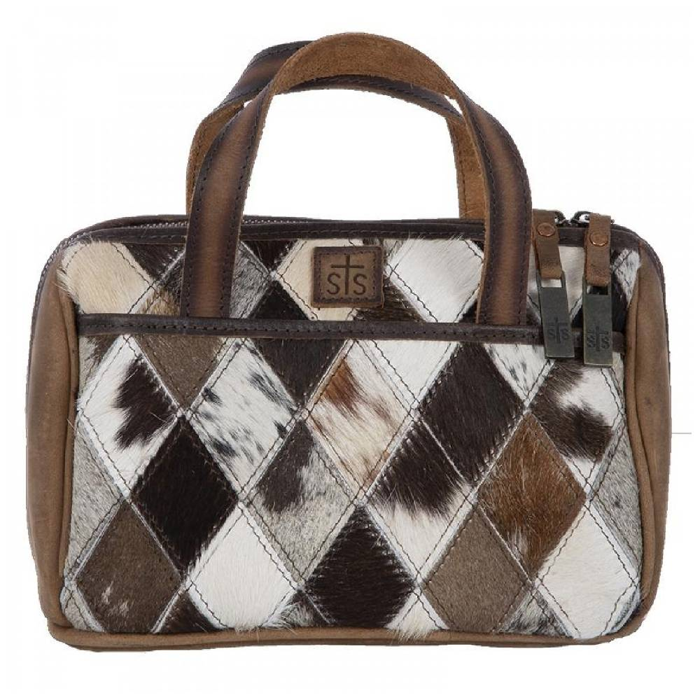 STS Ranchwear Diamond Cowhide Makeup Bag ACCESSORIES - Luggage & Travel - Cosmetic Bags STS Ranchwear Teskeys
