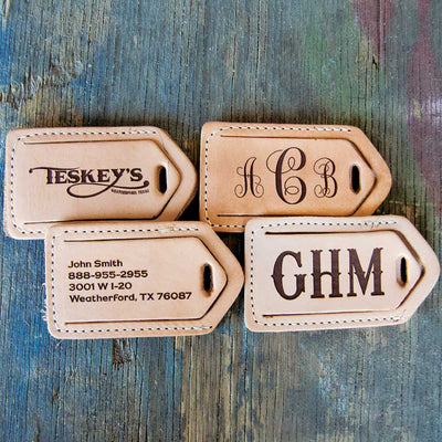 Teskey's Leather Luggage Tags with Personalized Engraving CUSTOMS & AWARDS - MISC Teskeys Teskeys