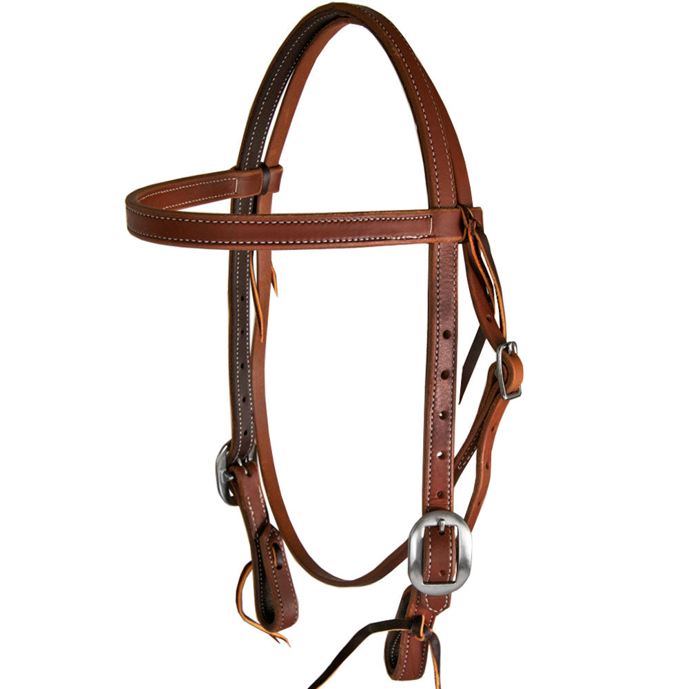 Heavy Oil Double Buckle Stitched Browband Headstall Tack - Headstalls Teskey's Teskeys