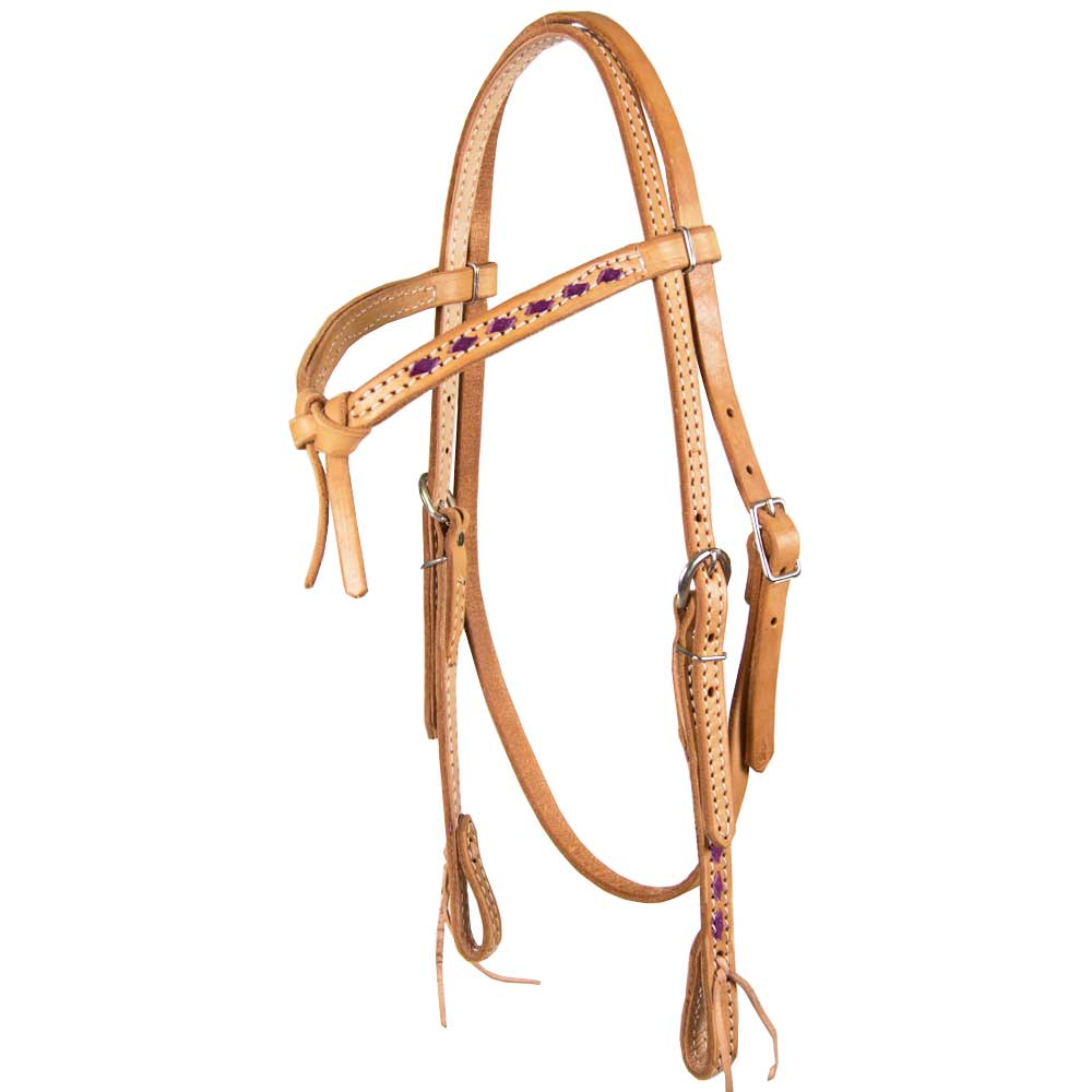 Teskey's Colored Buckstitch Crossover Browband Headstall - Choose Your Color Tack - Headstalls - Browband Teskey's Teskeys