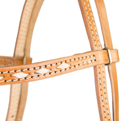 Teskey's Browband Headstall with White Buckstitch Tack - Headstalls Teskey's Teskeys