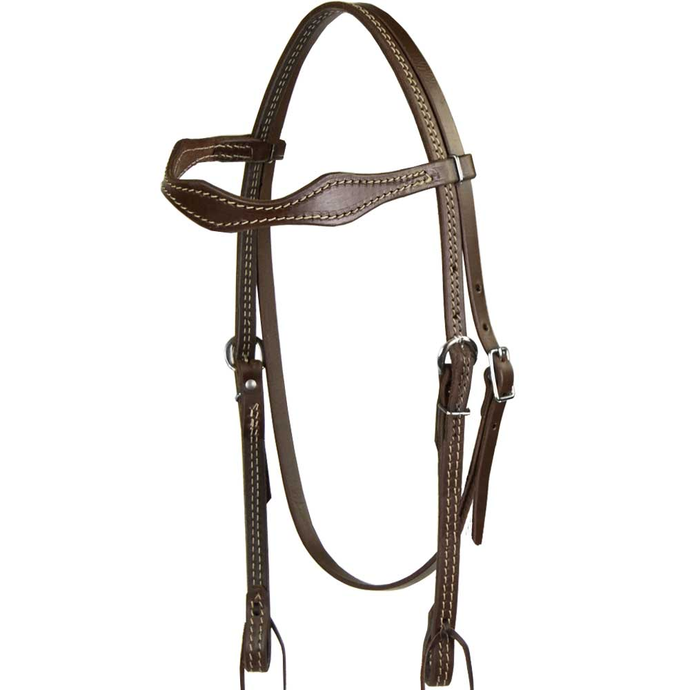 Teskey's Scalloped Heavy Oil Browband Headstall Tack - Headstalls - Browband Teskey's Teskeys