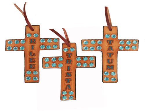 Leather Crosses w/ Crystals CUSTOMS & AWARDS - MISC Teskeys Teskeys