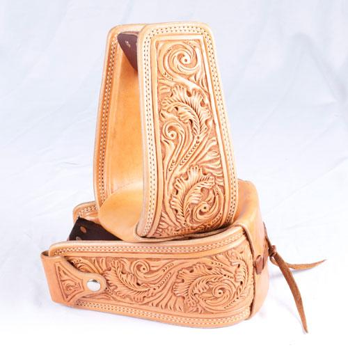 Leather Covered Trophy Stirrups - floral CUSTOMS & AWARDS - STIRRUPS Teskeys Teskeys