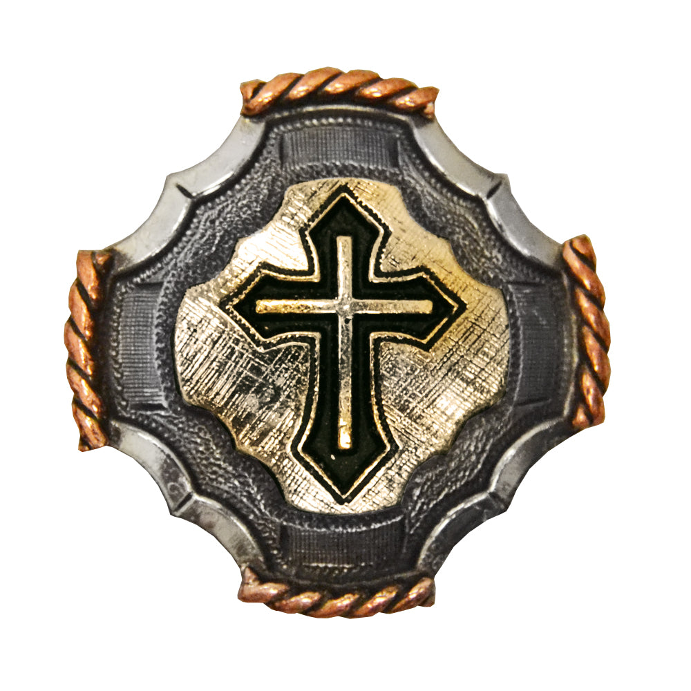 Cross Concho with Copper Rope Edge Tack - Conchos & Hardware - Conchos Teskeys Teskeys